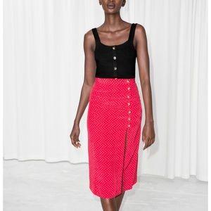 & other stories Asymmetrical Button Midi Skirt